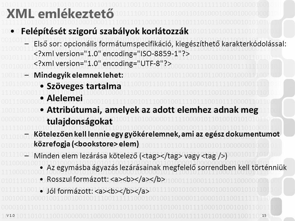 V 1.0 XML emlékeztető Felépítését szigorú szabályok korlátozzák –Első sor: opcionális formátumspecifikáció, kiegészíthető karakterkódolással: –Mindegyik elemnek lehet: Szöveges tartalma Alelemei Attribútumai, amelyek az adott elemhez adnak meg tulajdonságokat –Kötelezően kell lennie egy gyökérelemnek, ami az egész dokumentumot közrefogja ( elem) –Minden elem lezárása kötelező ( vagy ) Az egymásba ágyazás lezárásainak megfelelő sorrendben kell történniük Rosszul formázott: Jól formázott: 15