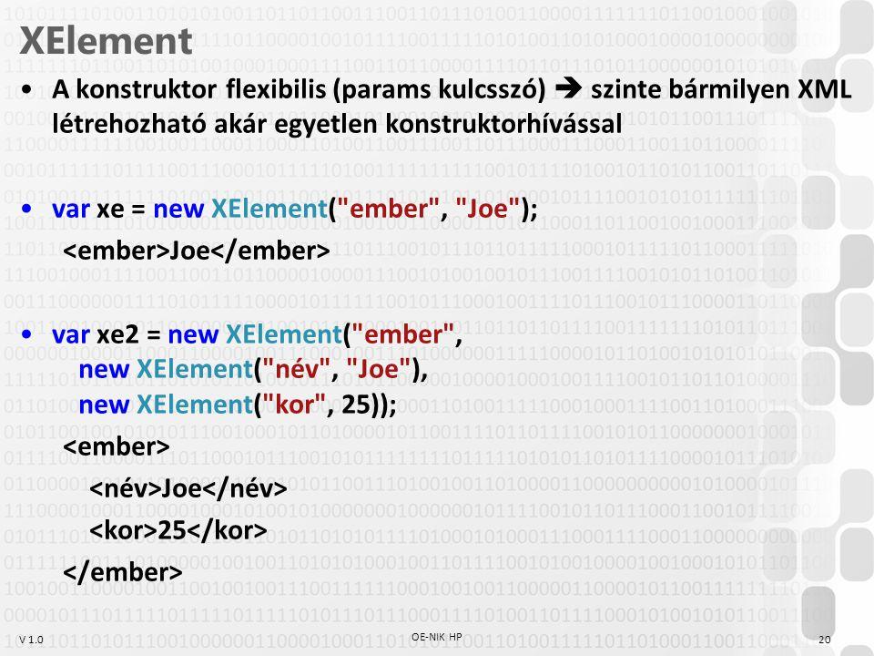 V 1.0 XElement A konstruktor flexibilis (params kulcsszó)  szinte bármilyen XML létrehozható akár egyetlen konstruktorhívással var xe = new XElement( ember , Joe ); Joe var xe2 = new XElement( ember , new XElement( név , Joe ), new XElement( kor , 25)); Joe 25 OE-NIK HP 20