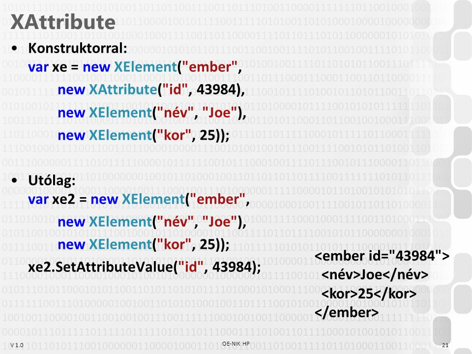 V 1.0 XAttribute Konstruktorral: var xe = new XElement( ember , new XAttribute( id , 43984), new XElement( név , Joe ), new XElement( kor , 25)); Utólag: var xe2 = new XElement( ember , new XElement( név , Joe ), new XElement( kor , 25)); xe2.SetAttributeValue( id , 43984); OE-NIK HP 21 Joe 25