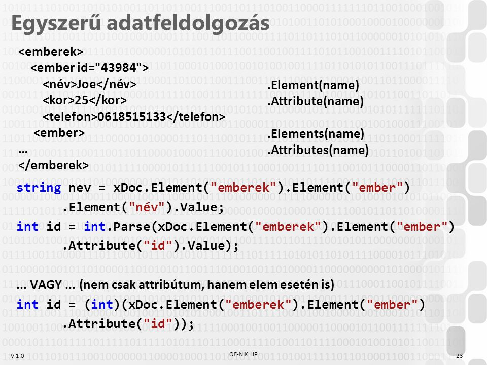 V 1.0 Egyszerű adatfeldolgozás string nev = xDoc.Element( emberek ).Element( ember ).Element( név ).Value; int id = int.Parse(xDoc.Element( emberek ).Element( ember ).Attribute( id ).Value);...