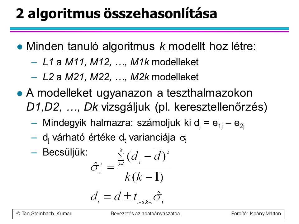© Tan,Steinbach, Kumar Bevezetés az adatbányászatba Fordító: Ispány Márton 2 algoritmus összehasonlítása l Minden tanuló algoritmus k modellt hoz létr