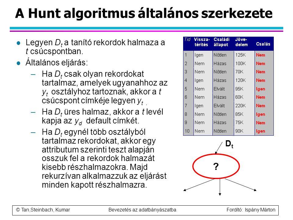 © Tan,Steinbach, Kumar Bevezetés az adatbányászatba Fordító: Ispány Márton A Hunt algoritmus általános szerkezete l Legyen D t a tanító rekordok halma