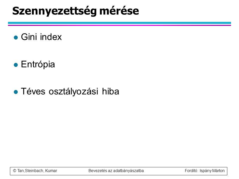 © Tan,Steinbach, Kumar Bevezetés az adatbányászatba Fordító: Ispány Márton Szennyezettség mérése l Gini index l Entrópia l Téves osztályozási hiba