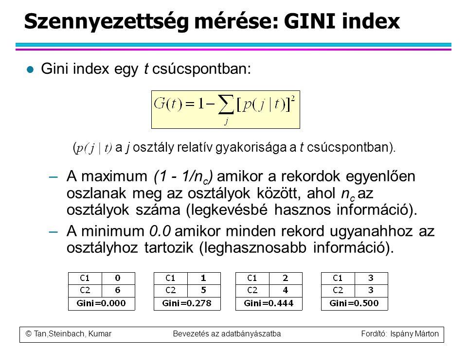 © Tan,Steinbach, Kumar Bevezetés az adatbányászatba Fordító: Ispány Márton Szennyezettség mérése: GINI index l Gini index egy t csúcspontban: ( p( j |