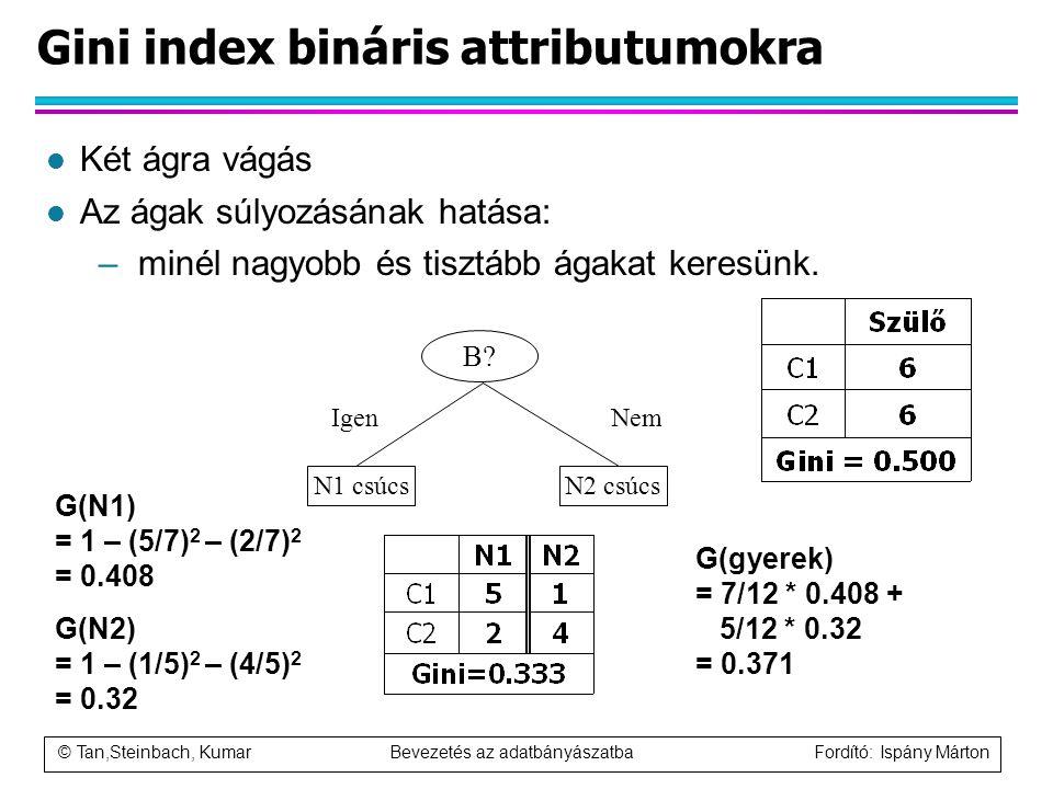 © Tan,Steinbach, Kumar Bevezetés az adatbányászatba Fordító: Ispány Márton Gini index bináris attributumokra l Két ágra vágás l Az ágak súlyozásának h