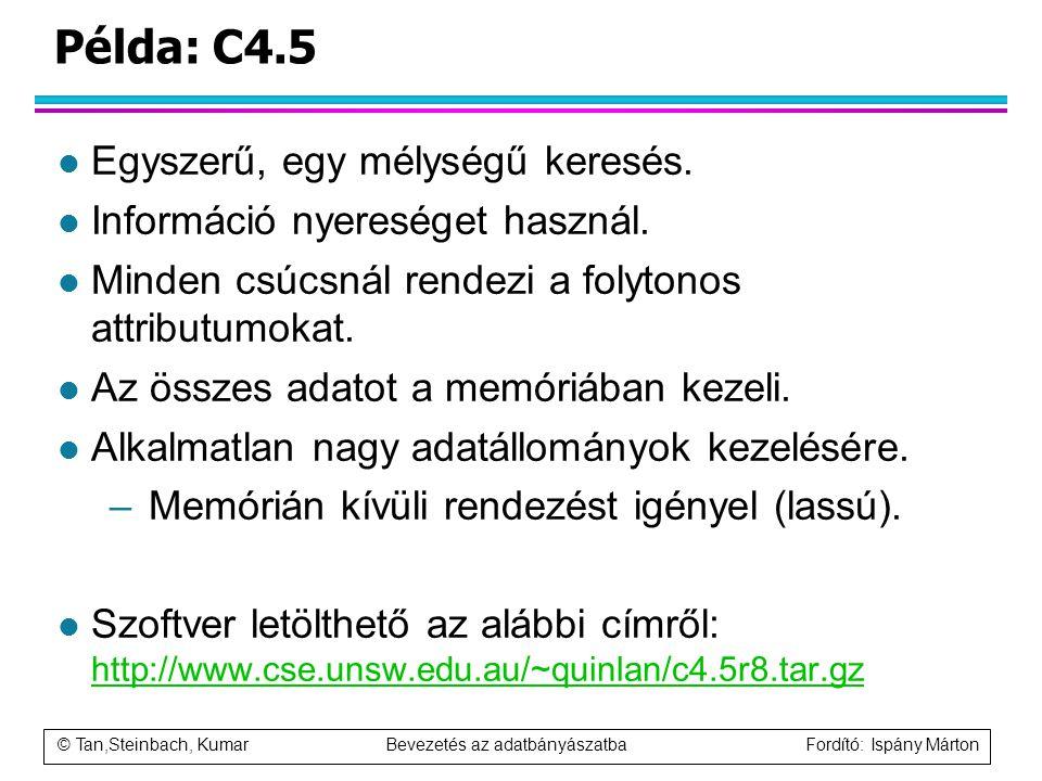 © Tan,Steinbach, Kumar Bevezetés az adatbányászatba Fordító: Ispány Márton Példa: C4.5 l Egyszerű, egy mélységű keresés. l Információ nyereséget haszn