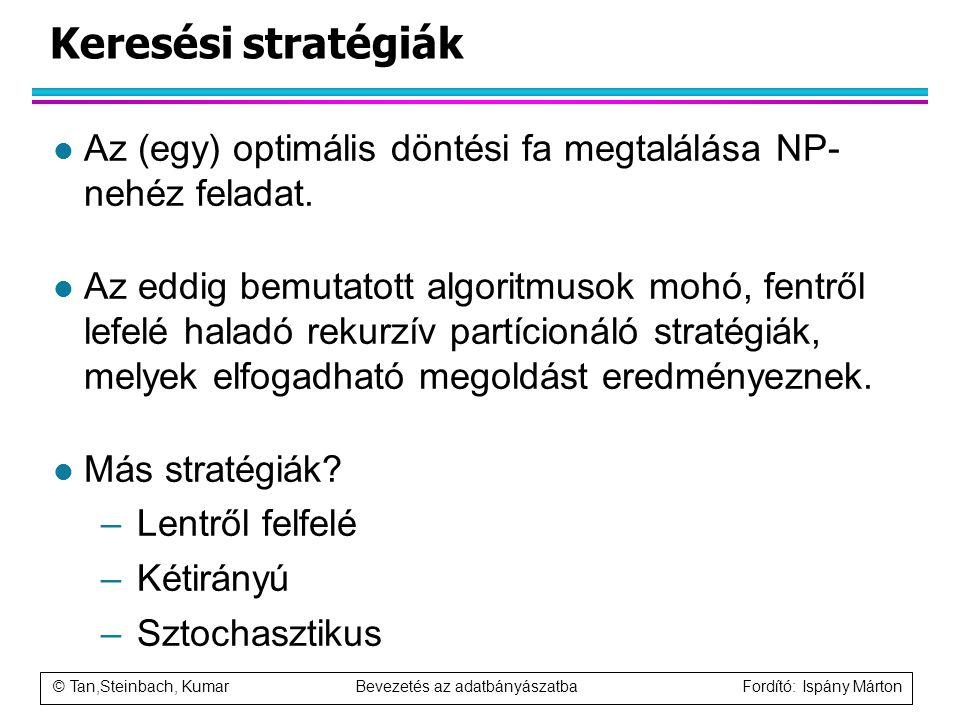 © Tan,Steinbach, Kumar Bevezetés az adatbányászatba Fordító: Ispány Márton Keresési stratégiák l Az (egy) optimális döntési fa megtalálása NP- nehéz f