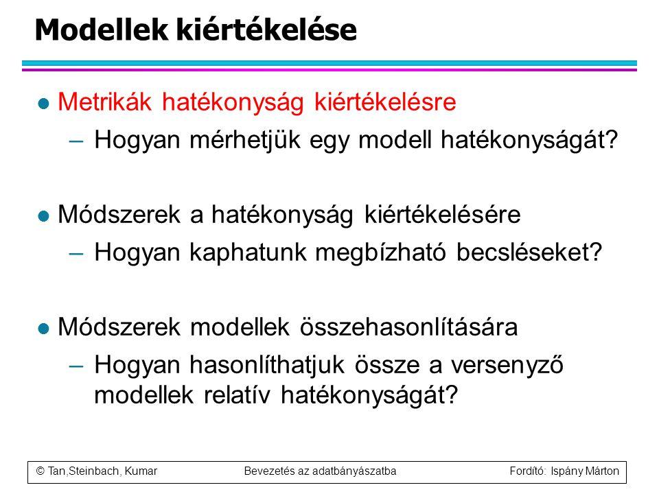 © Tan,Steinbach, Kumar Bevezetés az adatbányászatba Fordító: Ispány Márton Modellek kiértékelése l Metrikák hatékonyság kiértékelésre –Hogyan mérhetjü