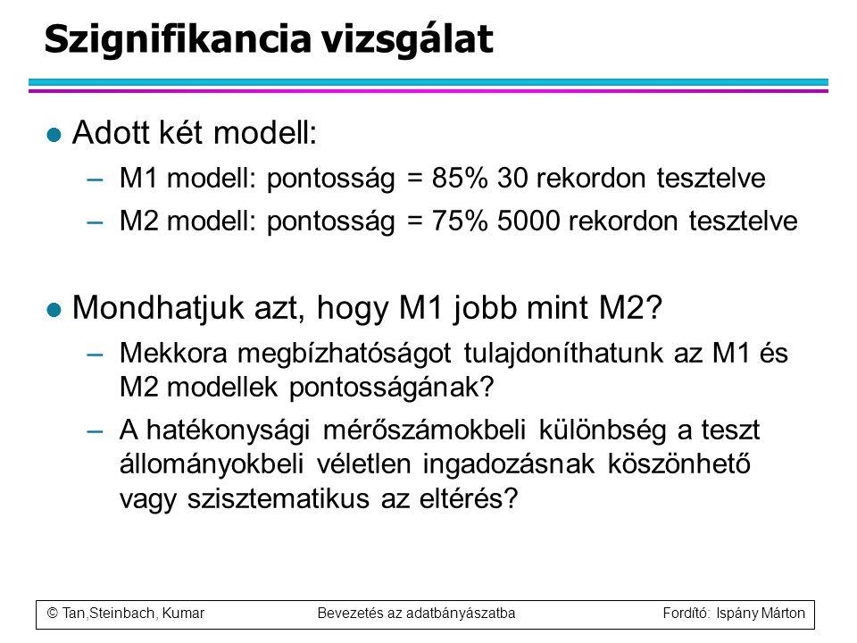 © Tan,Steinbach, Kumar Bevezetés az adatbányászatba Fordító: Ispány Márton Szignifikancia vizsgálat l Adott két modell: –M1 modell: pontosság = 85% 30