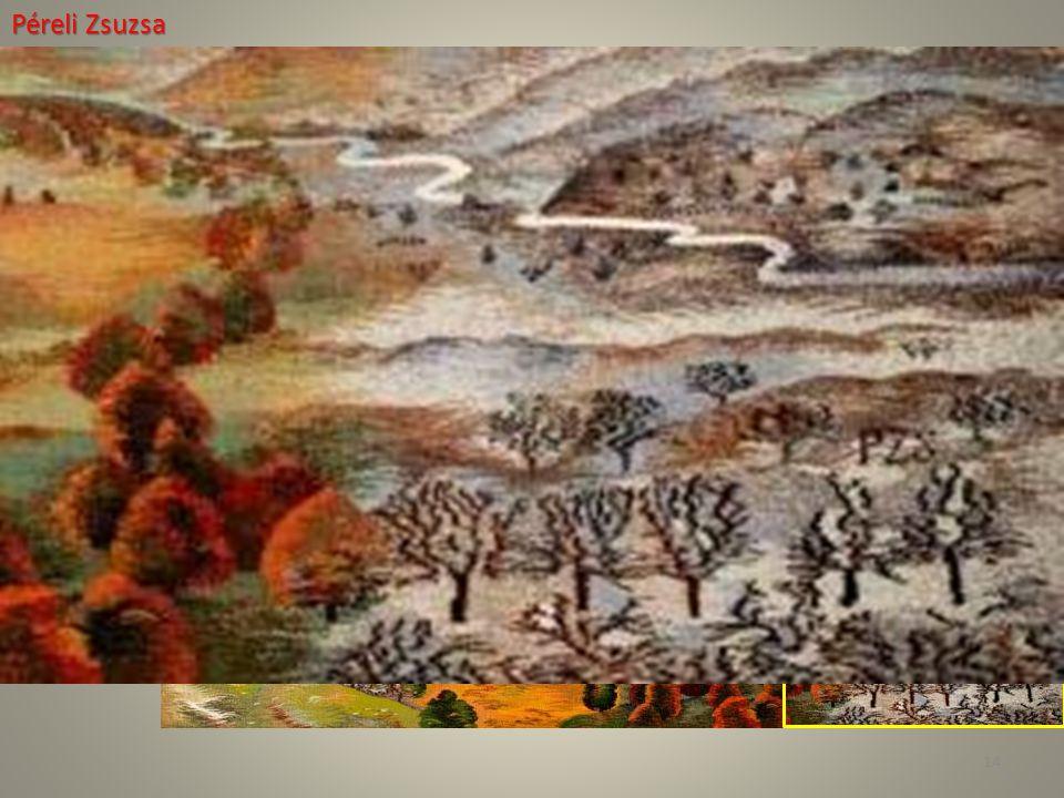 Péreli Zsuzsa AshaÉv: 2007–08Technika: GobelinAnyag: Gyapjú, selyem Méret: 122 × 164 cm 14
