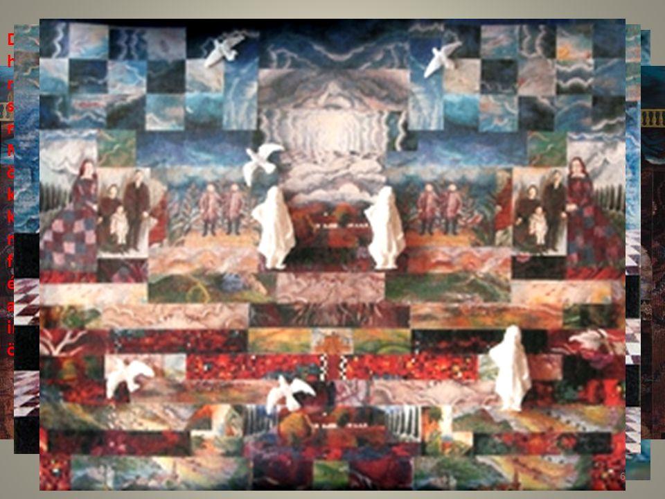 DÉJÁ VU című sorozat különleges hatású együttese az egymásra ragasztott, megmunkált kép- és szövegnyomatoknak és az alakokat megjelenítő papírdombormű