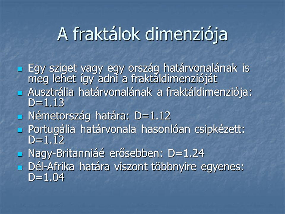 A fraktálok dimenziója Egy sziget vagy egy ország határvonalának is meg lehet így adni a fraktáldimenzióját Egy sziget vagy egy ország határvonalának