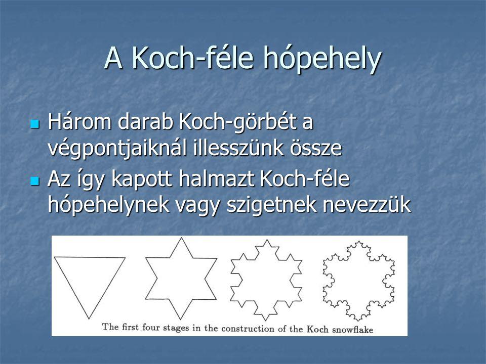 A Koch-féle hópehely Három darab Koch-görbét a végpontjaiknál illesszünk össze Három darab Koch-görbét a végpontjaiknál illesszünk össze Az így kapott