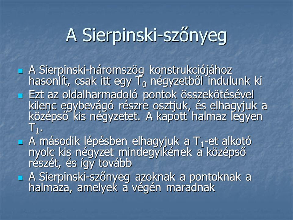 A Sierpinski-szőnyeg A Sierpinski-háromszög konstrukciójához hasonlít, csak itt egy T 0 négyzetből indulunk ki A Sierpinski-háromszög konstrukciójához
