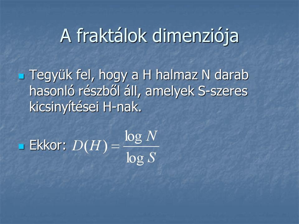 A fraktálok dimenziója Egy sziget vagy egy ország határvonalának is meg lehet így adni a fraktáldimenzióját Egy sziget vagy egy ország határvonalának is meg lehet így adni a fraktáldimenzióját Ausztrália határvonalának a fraktáldimenziója: D=1.13 Ausztrália határvonalának a fraktáldimenziója: D=1.13 Németország határa: D=1.12 Németország határa: D=1.12 Portugália határvonala hasonlóan csipkézett: D=1.12 Portugália határvonala hasonlóan csipkézett: D=1.12 Nagy-Britanniáé erősebben: D=1.24 Nagy-Britanniáé erősebben: D=1.24 Dél-Afrika határa viszont többnyire egyenes: D=1.04 Dél-Afrika határa viszont többnyire egyenes: D=1.04