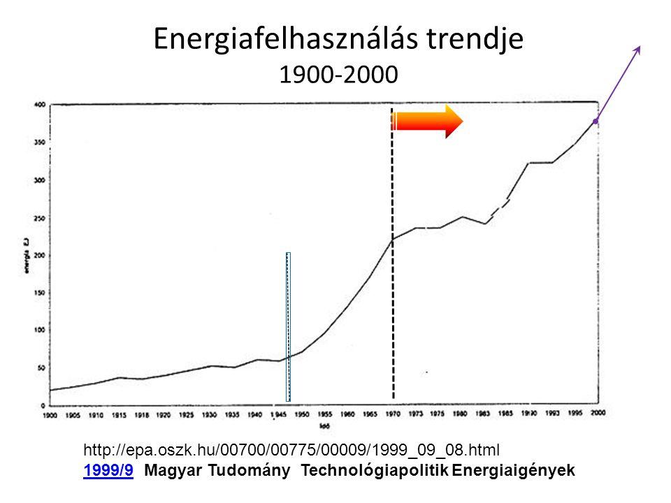Energiafelhasználás trendje 1900-2000 http://epa.oszk.hu/00700/00775/00009/1999_09_08.html 1999/91999/9 Magyar Tudomány Technológiapolitik Energiaigén