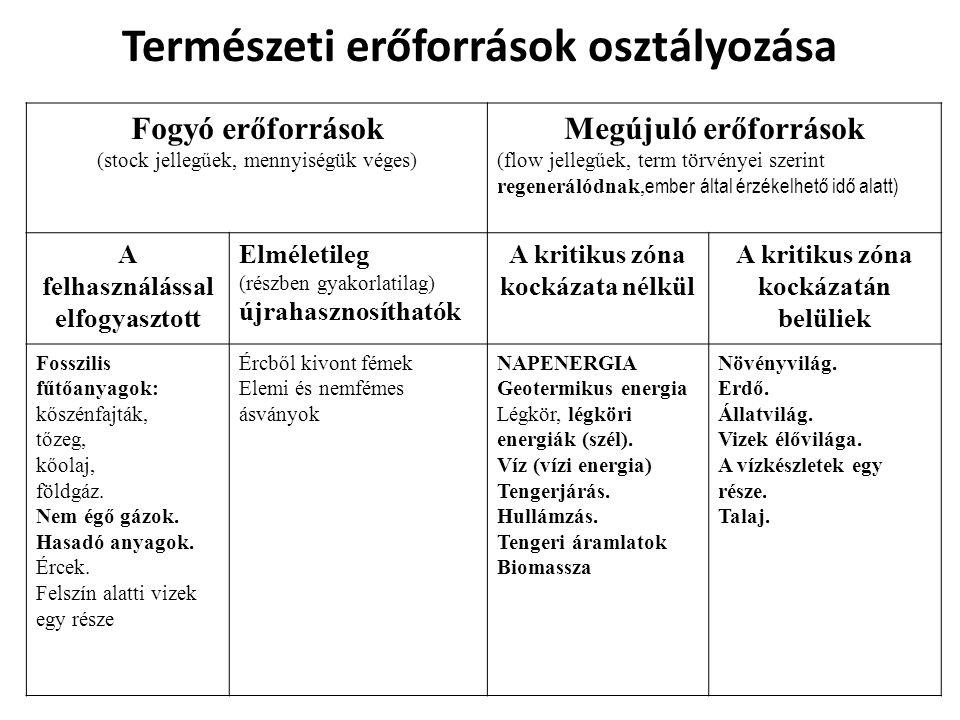 Természeti erőforrások osztályozása Fogyó erőforrások (stock jellegűek, mennyiségük véges) Megújuló erőforrások (flow jellegűek, term törvényei szerin