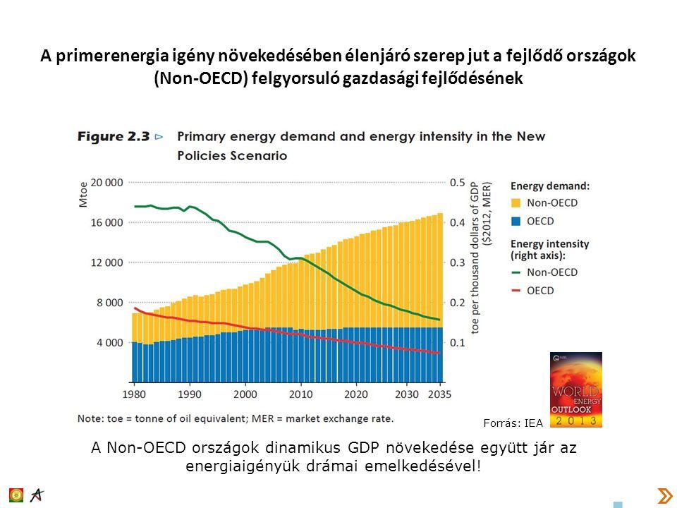 A primerenergia igény növekedésében élenjáró szerep jut a fejlődő országok (Non-OECD) felgyorsuló gazdasági fejlődésének. A Non-OECD országok dinamiku