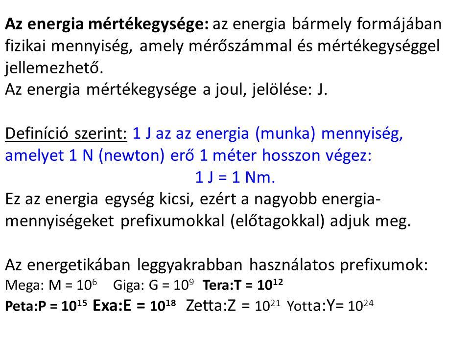 Az energia mértékegysége: az energia bármely formájában fizikai mennyiség, amely mérőszámmal és mértékegységgel jellemezhető. Az energia mértékegysége