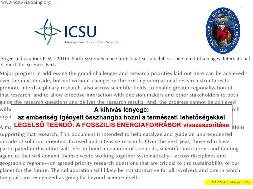 A kihívás lényege: az emberiség igényeit összhangba hozni a természeti lehetőségekkel LEGELSŐ TEENDŐ: A FOSSZILIS ENERGIAFORRÁSOK visszaszorítása Dr.P