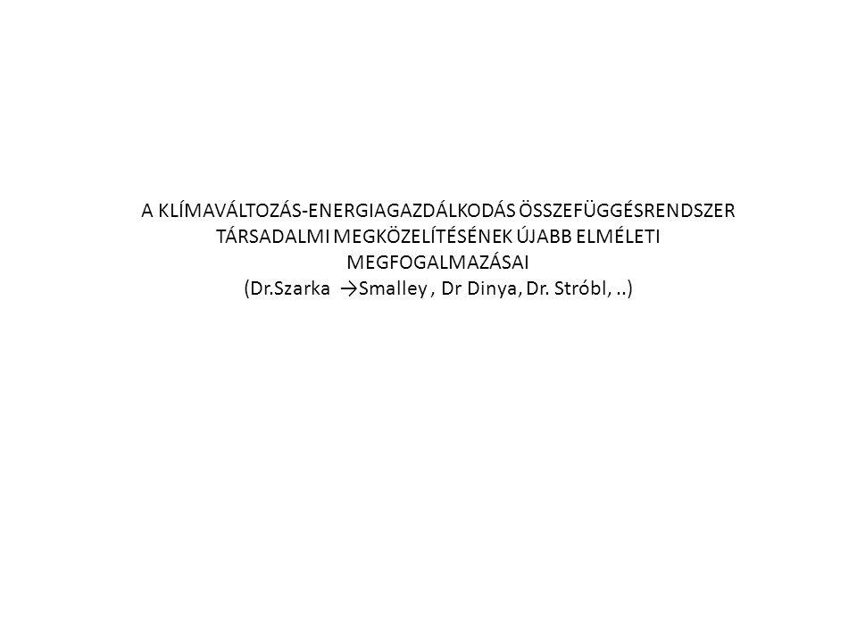 A KLÍMAVÁLTOZÁS-ENERGIAGAZDÁLKODÁS ÖSSZEFÜGGÉSRENDSZER TÁRSADALMI MEGKÖZELÍTÉSÉNEK ÚJABB ELMÉLETI MEGFOGALMAZÁSAI (Dr.Szarka →Smalley, Dr Dinya, Dr. S