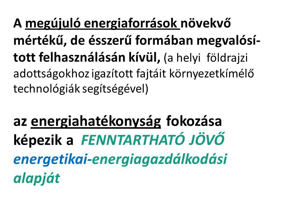 A megújuló energiaforrások növekvő mértékű, de ésszerű formában megvalósí- tott felhasználásán kívül, (a helyi földrajzi adottságokhoz igazított fajtá