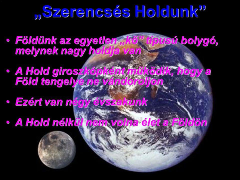 """""""Szerencsés Holdunk Földünk az egyetlen """"kő típusú bolygó, melynek nagy holdja vanFöldünk az egyetlen """"kő típusú bolygó, melynek nagy holdja van A Hold giroszkópként működik, hogy a Föld tengelye ne vándoroljonA Hold giroszkópként működik, hogy a Föld tengelye ne vándoroljon Ezért van négy évszakunkEzért van négy évszakunk A Hold nélkül nem volna élet a FöldönA Hold nélkül nem volna élet a Földön"""