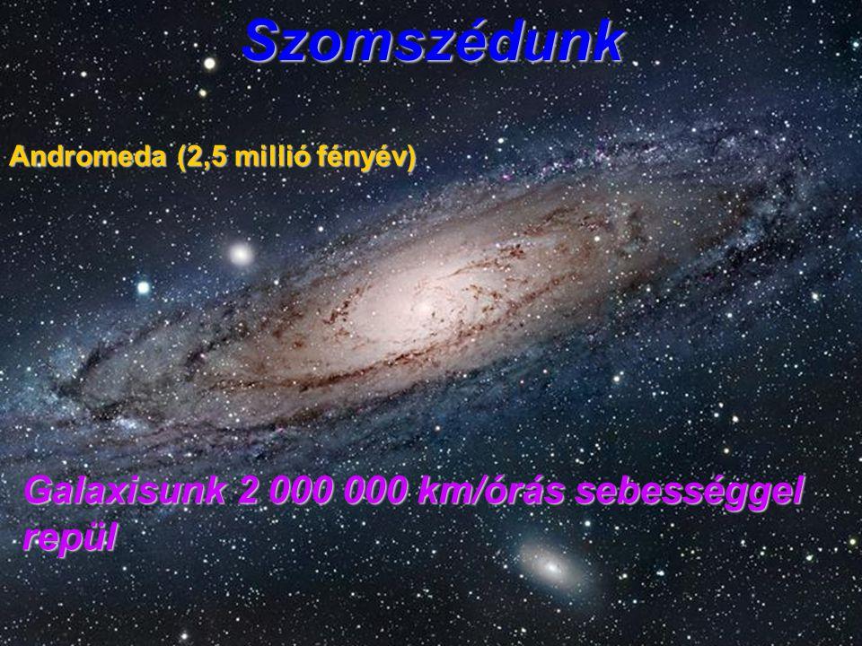 Szomszédunk Andromeda (2,5 millió fényév) Galaxisunk 2 000 000 km/órás sebességgel repül