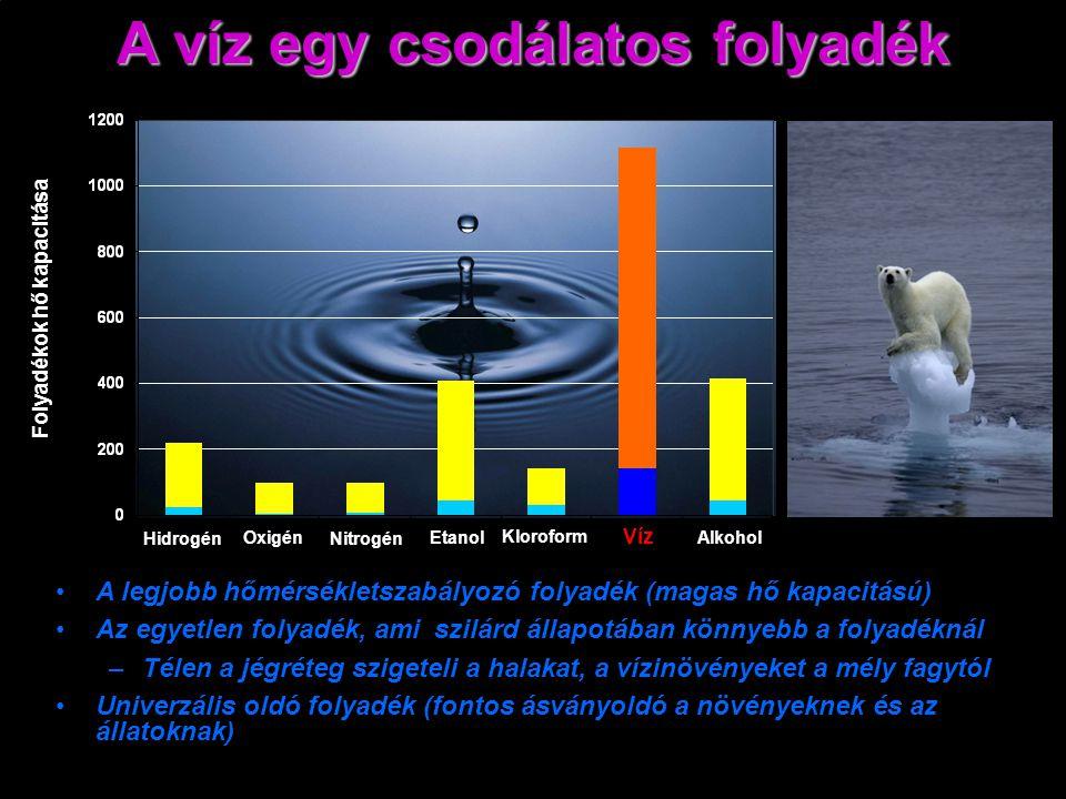 Folyadékok hő kapacitása Víz Hidrogén Oxigén Nitrogén Etanol Kloroform Alkohol A legjobb hőmérsékletszabályozó folyadék (magas hő kapacitású) Az egyetlen folyadék, ami szilárd állapotában könnyebb a folyadéknál – –Télen a jégréteg szigeteli a halakat, a vízinövényeket a mély fagytól Univerzális oldó folyadék (fontos ásványoldó a növényeknek és az állatoknak) A víz egy csodálatos folyadék