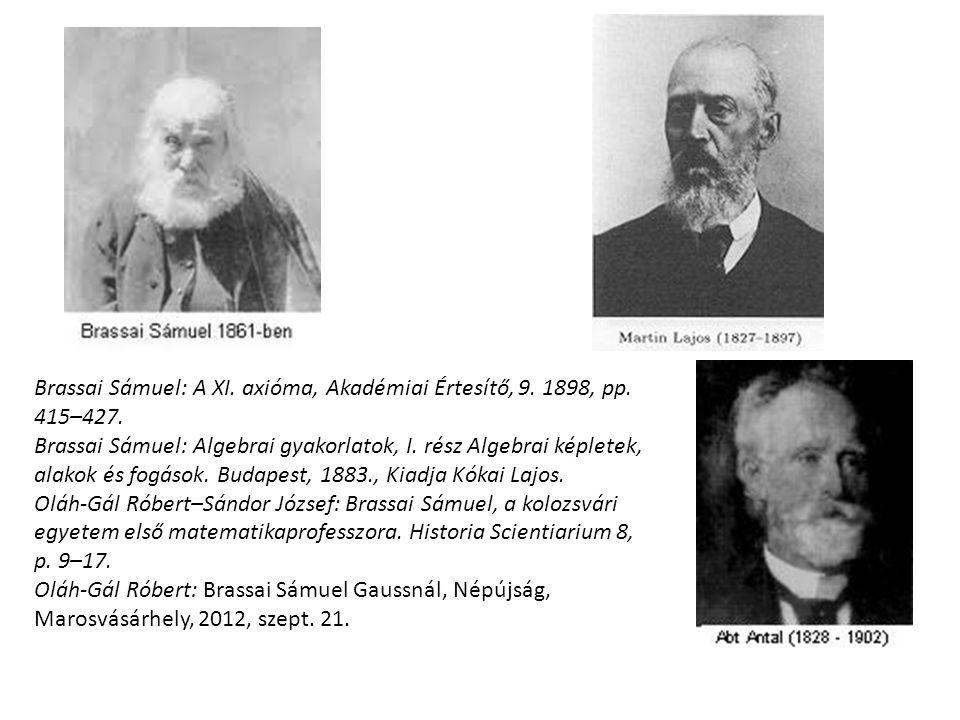 Brassai Sámuel: A XI. axióma, Akadémiai Értesítő, 9. 1898, pp. 415–427. Brassai Sámuel: Algebrai gyakorlatok, I. rész Algebrai képletek, alakok és fog