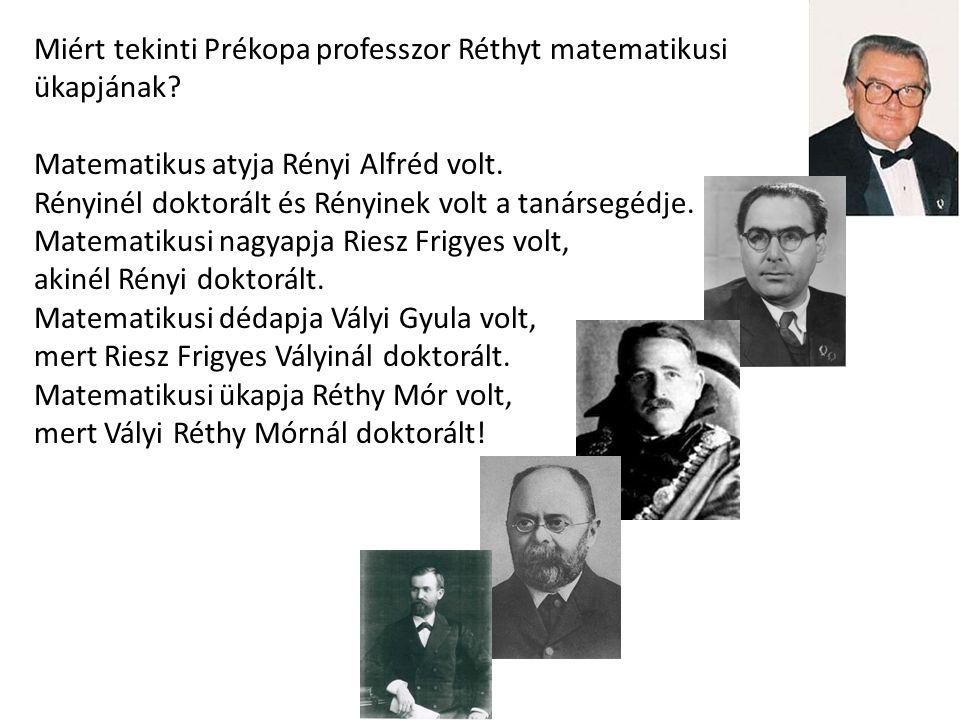 Miért tekinti Prékopa professzor Réthyt matematikusi ükapjának? Matematikus atyja Rényi Alfréd volt. Rényinél doktorált és Rényinek volt a tanársegédj