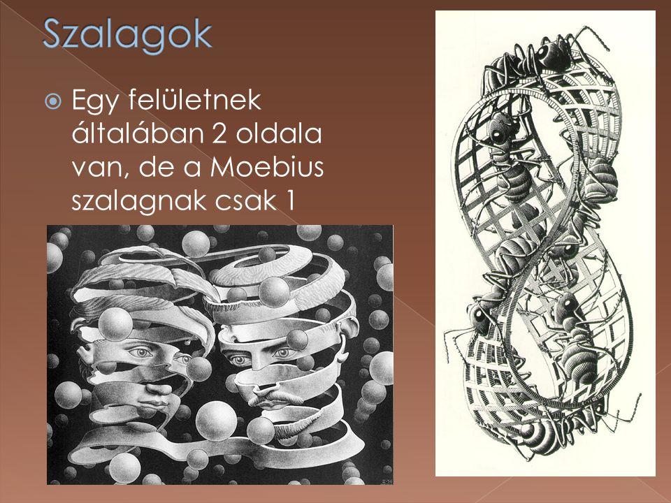  Egy felületnek általában 2 oldala van, de a Moebius szalagnak csak 1