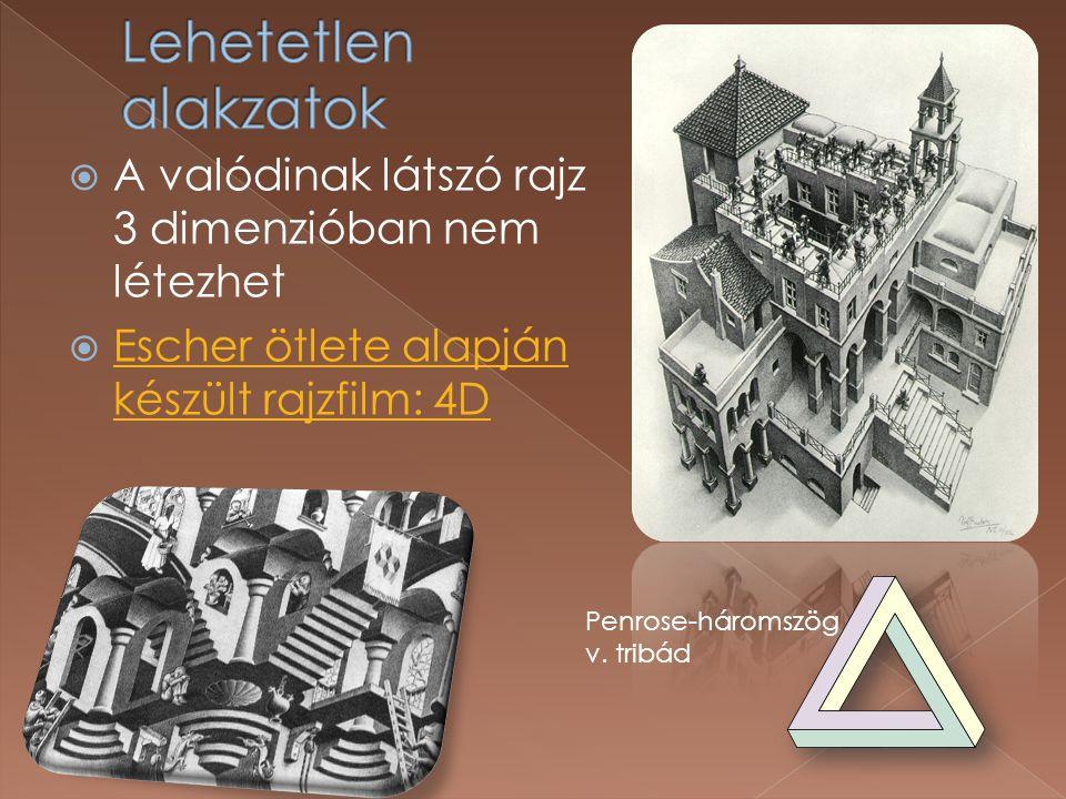  A valódinak látszó rajz 3 dimenzióban nem létezhet  Escher ötlete alapján készült rajzfilm: 4D Escher ötlete alapján készült rajzfilm: 4D Penrose-háromszög v.