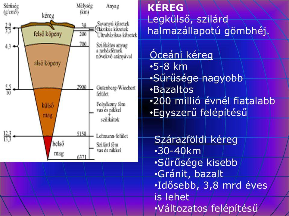 KÉREG Legkülső, szilárd halmazállapotú gömbhéj. Óceáni kéreg 5-8 km Sűrűsége nagyobb Bazaltos 200 millió évnél fiatalabb Egyszerű felépítésű Szárazföl