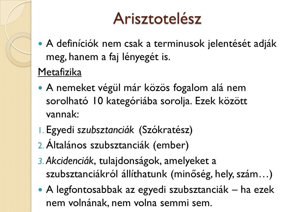 Arisztotelész A definíciók nem csak a terminusok jelentését adják meg, hanem a faj lényegét is. Metafizika A nemeket végül már közös fogalom alá nem s