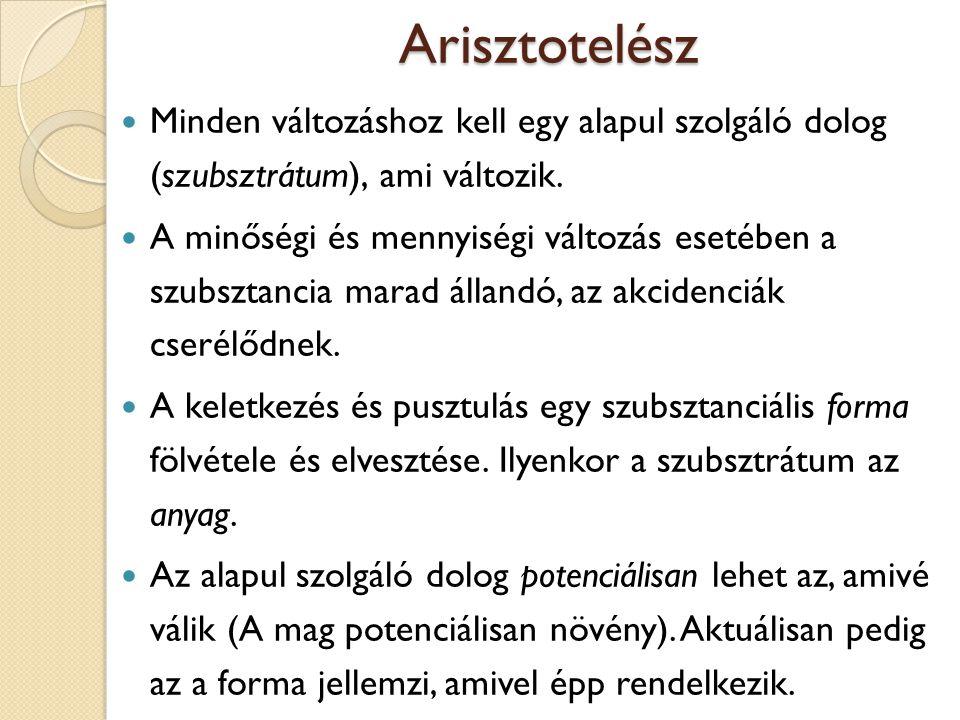 Arisztotelész Minden változáshoz kell egy alapul szolgáló dolog (szubsztrátum), ami változik. A minőségi és mennyiségi változás esetében a szubsztanci