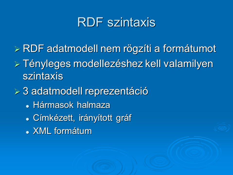 RDF szintaxis  RDF adatmodell nem rögzíti a formátumot  Tényleges modellezéshez kell valamilyen szintaxis  3 adatmodell reprezentáció Hármasok halmaza Hármasok halmaza Címkézett, irányított gráf Címkézett, irányított gráf XML formátum XML formátum