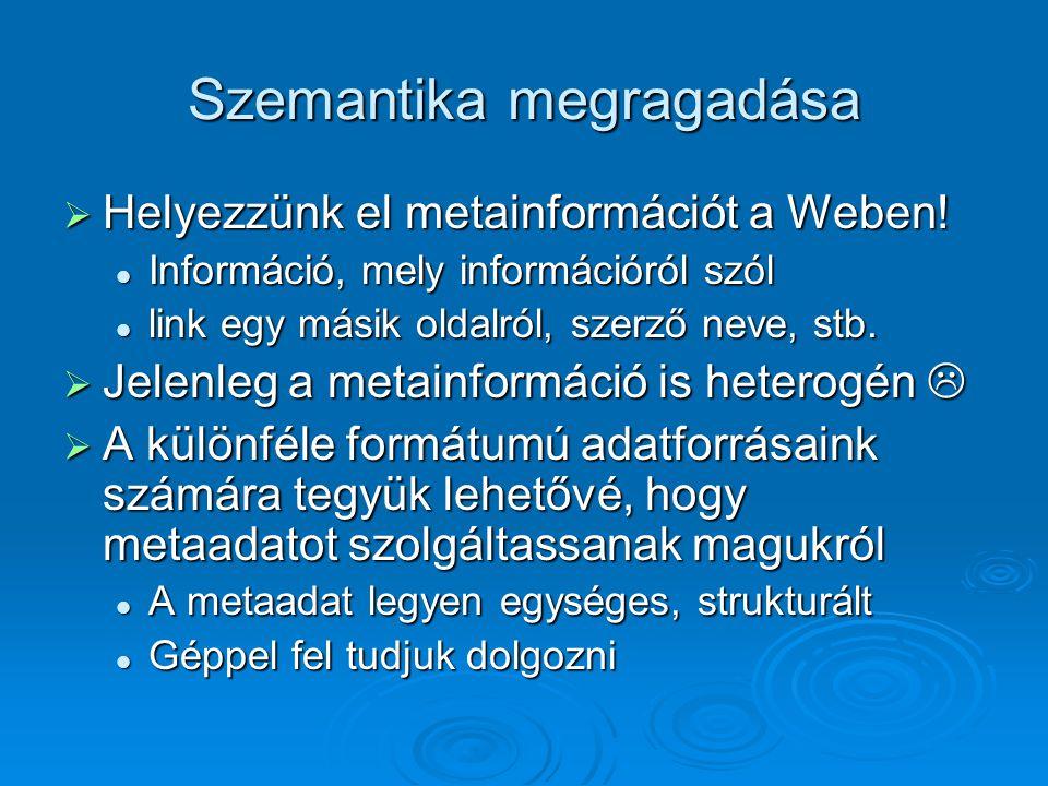 Szemantika megragadása  Helyezzünk el metainformációt a Weben.