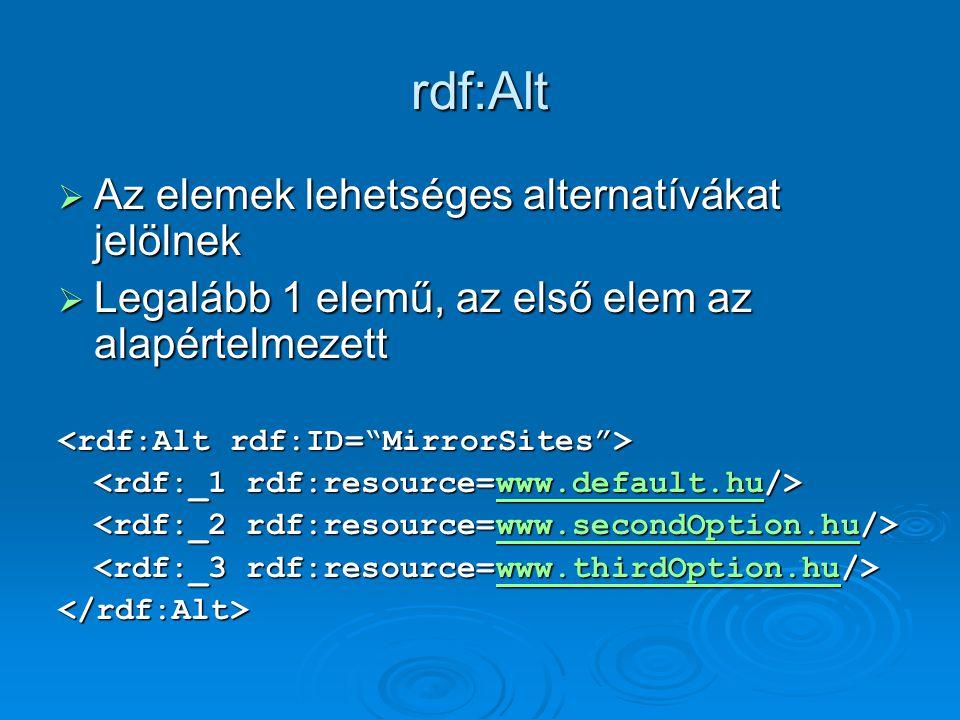 rdf:Alt  Az elemek lehetséges alternatívákat jelölnek  Legalább 1 elemű, az első elem az alapértelmezett www.default.hu www.secondOption.hu www.thirdOption.hu </rdf:Alt>
