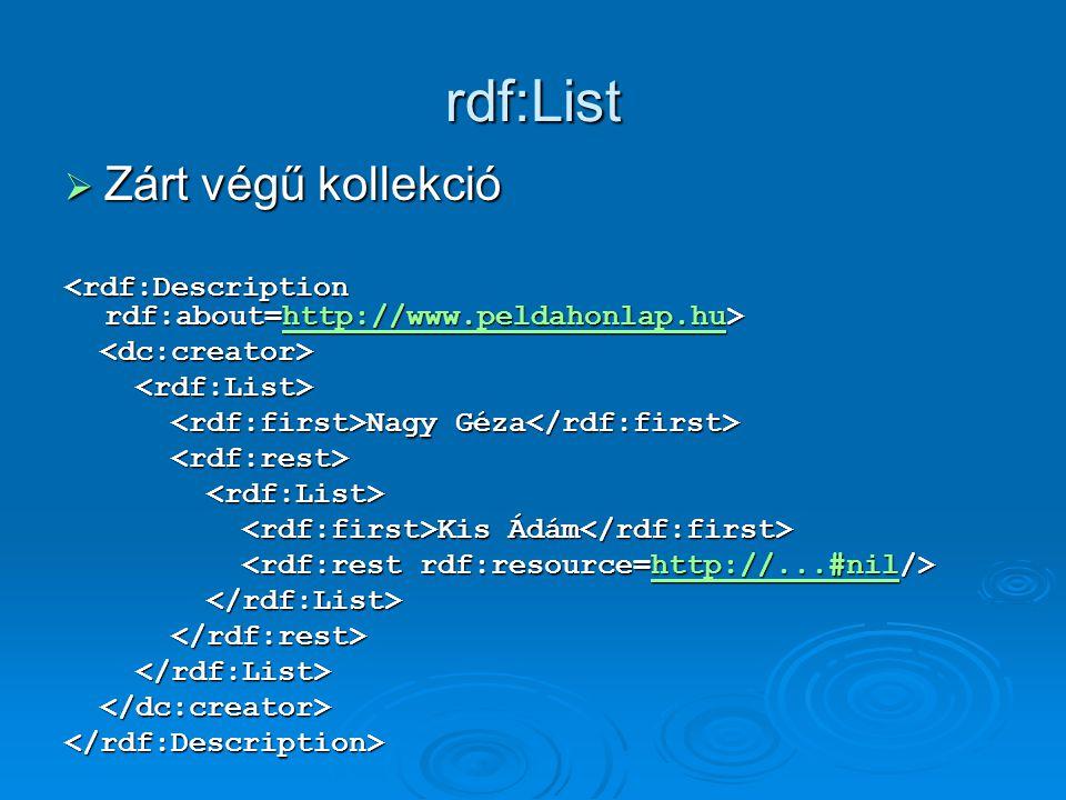 rdf:List  Zárt végű kollekció http://www.peldahonlap.hu Nagy Géza Nagy Géza Kis Ádám Kis Ádám http://...#nil </rdf:Description>