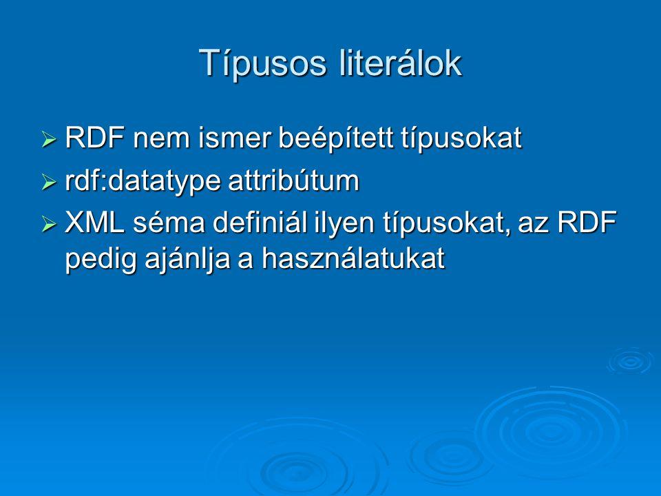 Típusos literálok  RDF nem ismer beépített típusokat  rdf:datatype attribútum  XML séma definiál ilyen típusokat, az RDF pedig ajánlja a használatukat