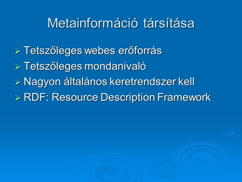 Metainformáció társítása  Tetszőleges webes erőforrás  Tetszőleges mondanivaló  Nagyon általános keretrendszer kell  RDF: Resource Description Framework