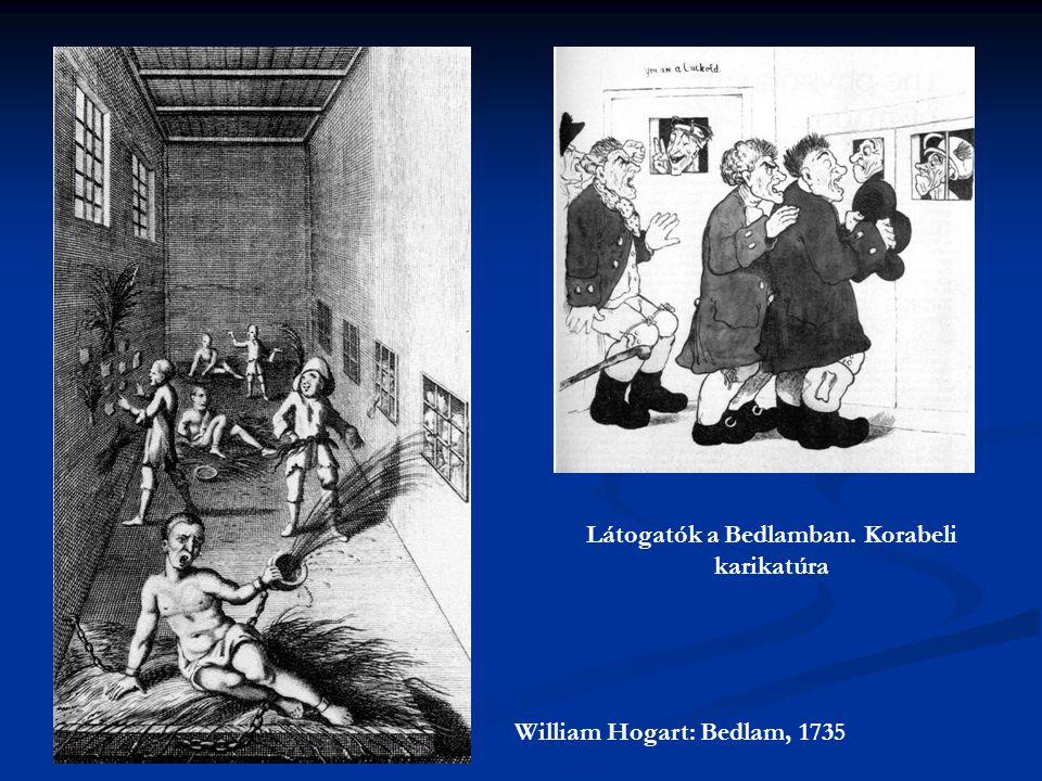 William Hogart: Bedlam, 1735 Látogatók a Bedlamban. Korabeli karikatúra