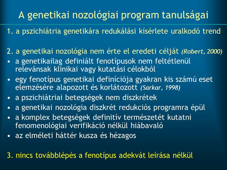 A genetikai nozológiai program tanulságai 1. a pszichiátria genetikára redukálási kísérlete uralkodó trend 2. a genetikai nozológia nem érte el eredet