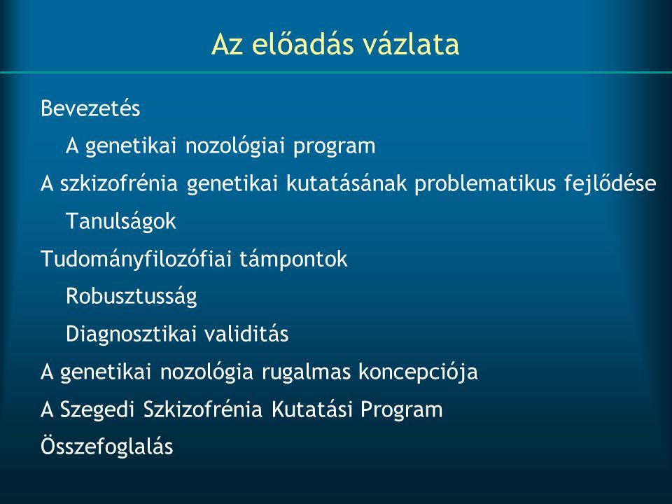 Az előadás vázlata Bevezetés A genetikai nozológiai program A szkizofrénia genetikai kutatásának problematikus fejlődése Tanulságok Tudományfilozófiai