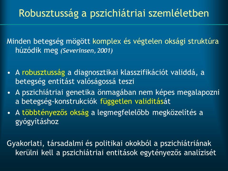 Robusztusság a pszichiátriai szemléletben Minden betegség mögött komplex és végtelen oksági struktúra húzódik meg (Severinsen, 2001) A robusztusság a