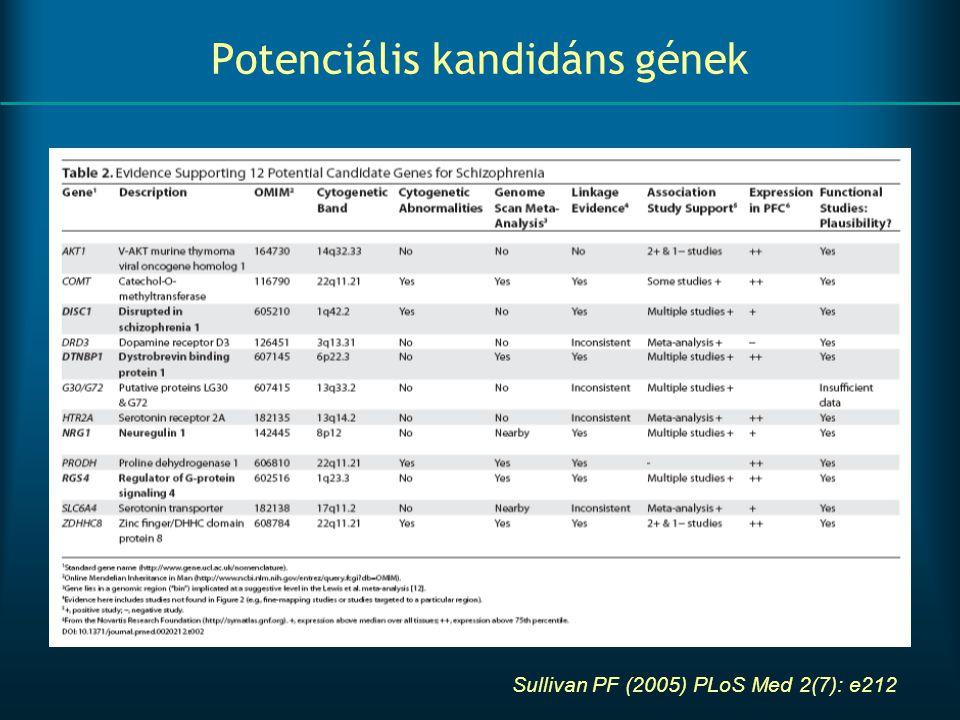 Potenciális kandidáns gének Sullivan PF (2005) PLoS Med 2(7): e212