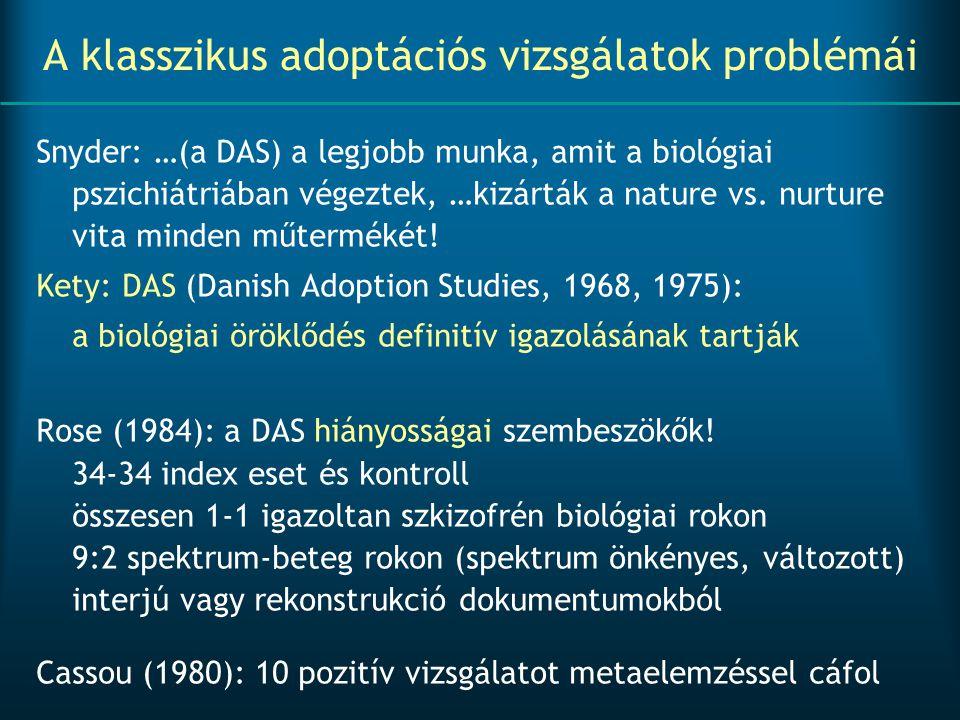 A klasszikus adoptációs vizsgálatok problémái Snyder: …(a DAS) a legjobb munka, amit a biológiai pszichiátriában végeztek, …kizárták a nature vs. nurt