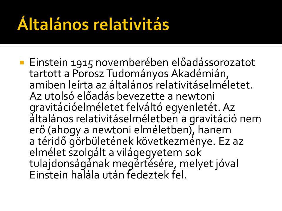  Einstein 1915 novemberében előadássorozatot tartott a Porosz Tudományos Akadémián, amiben leírta az általános relativitáselméletet. Az utolsó előadá