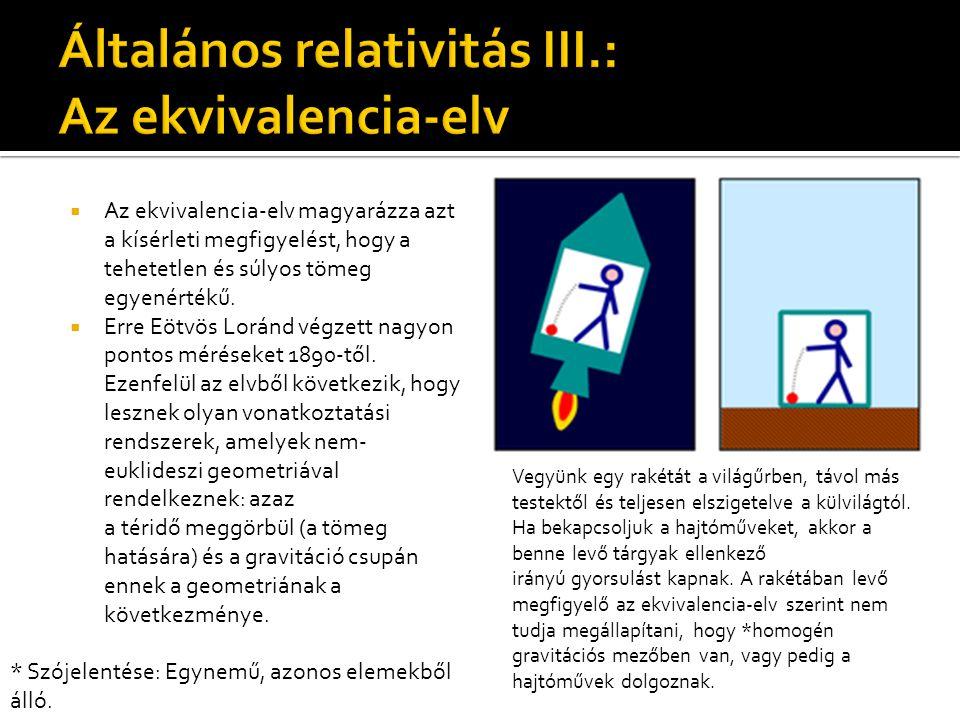  Az ekvivalencia-elv magyarázza azt a kísérleti megfigyelést, hogy a tehetetlen és súlyos tömeg egyenértékű.  Erre Eötvös Loránd végzett nagyon pont